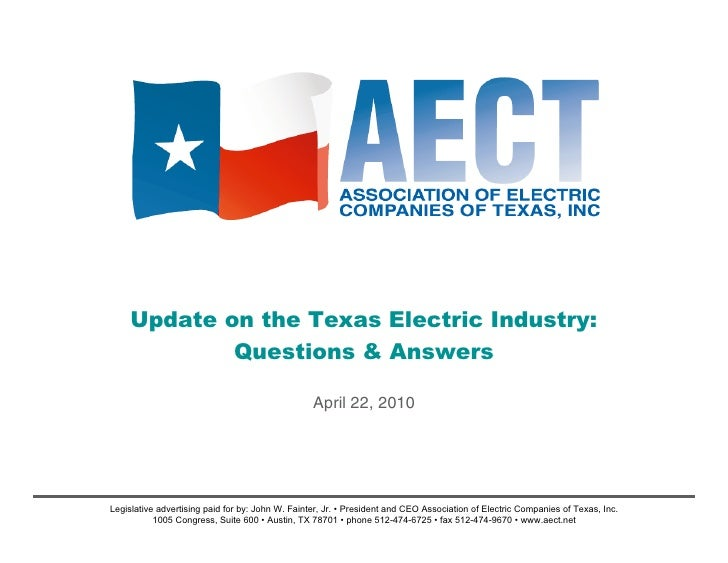 Update on the Texas Electric Industry:              Questions & Answers                                                   ...