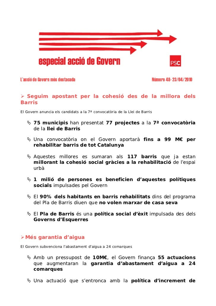 L'acció de Govern més destacada                                         Número 48- 23/04/2010     Seguim apostant per la c...