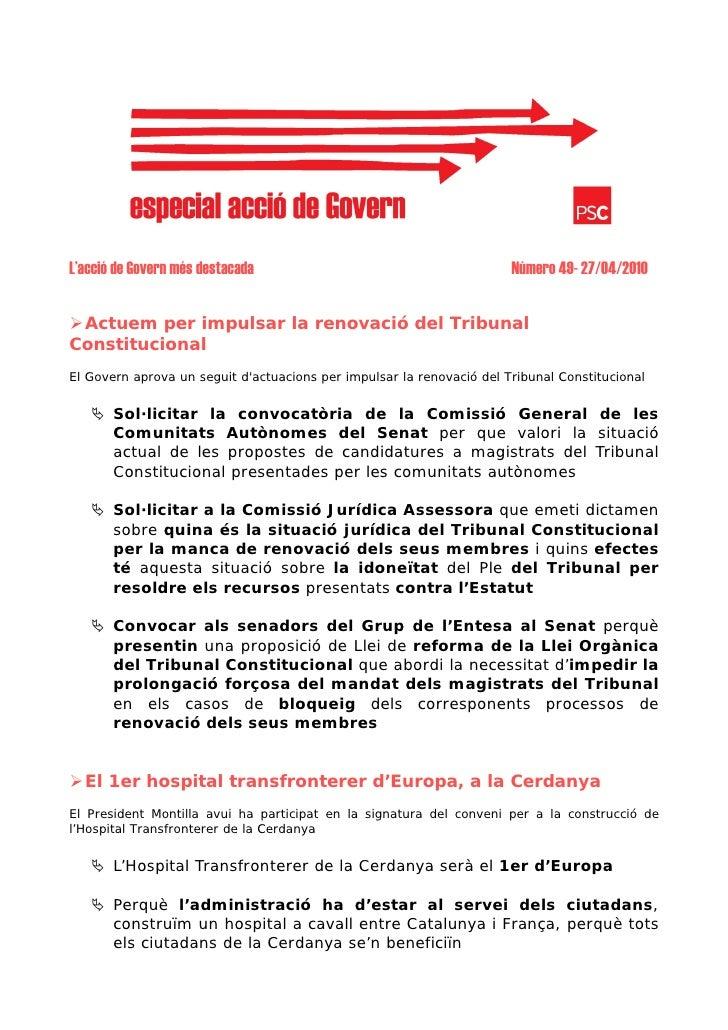 L'acció de Govern més destacada                                        Número 49- 27/04/2010    Actuem per impulsar la ren...