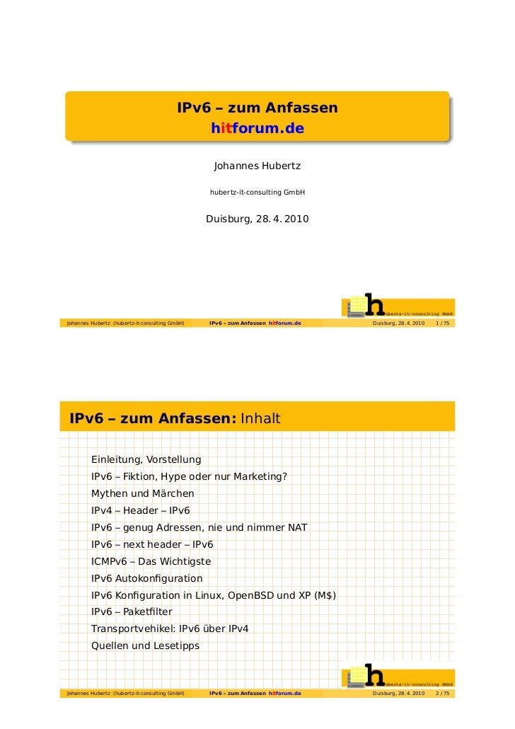 IPv6 – zum Anfassen                                             hitforum.de                                               ...