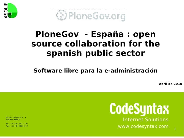 PloneGov - España : open                                   source collaboration for the                                   ...
