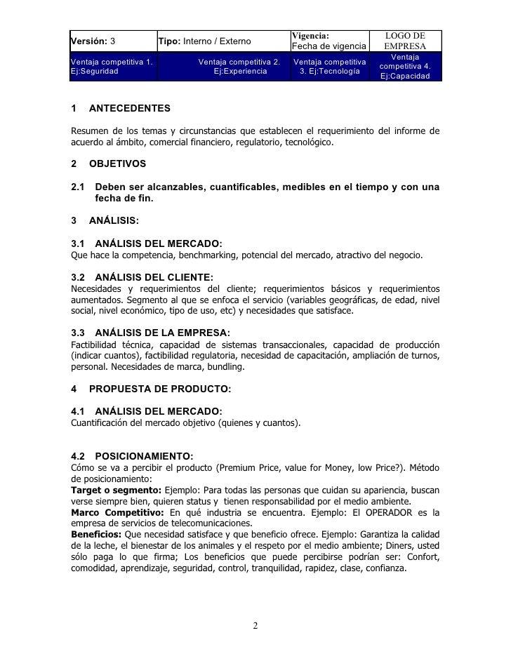 Formato informe de productos y servicios - telecomunicaciones