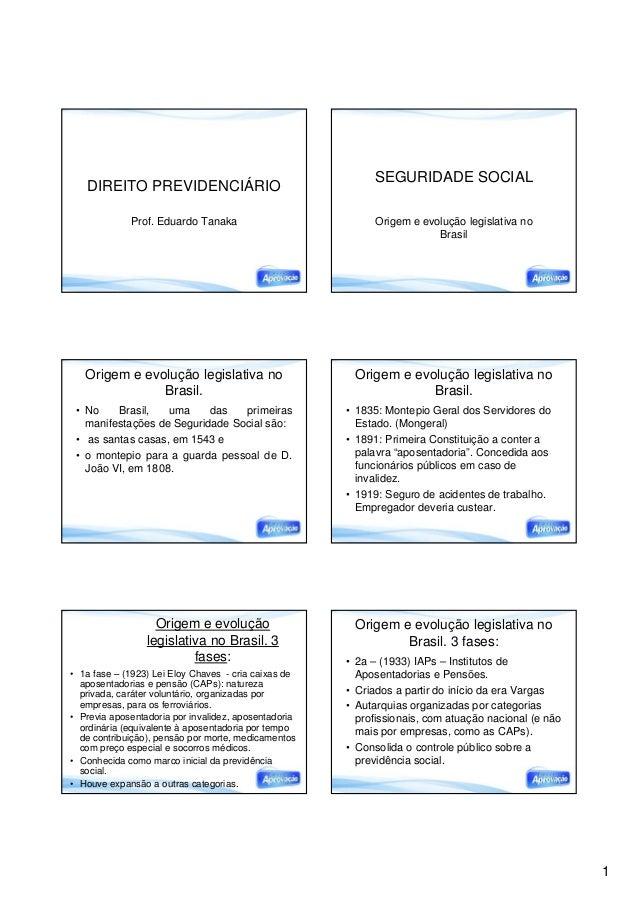 1 DIREITO PREVIDENCIÁRIO Prof. Eduardo Tanaka SEGURIDADE SOCIAL Origem e evolução legislativa no Brasil Origem e evolução ...