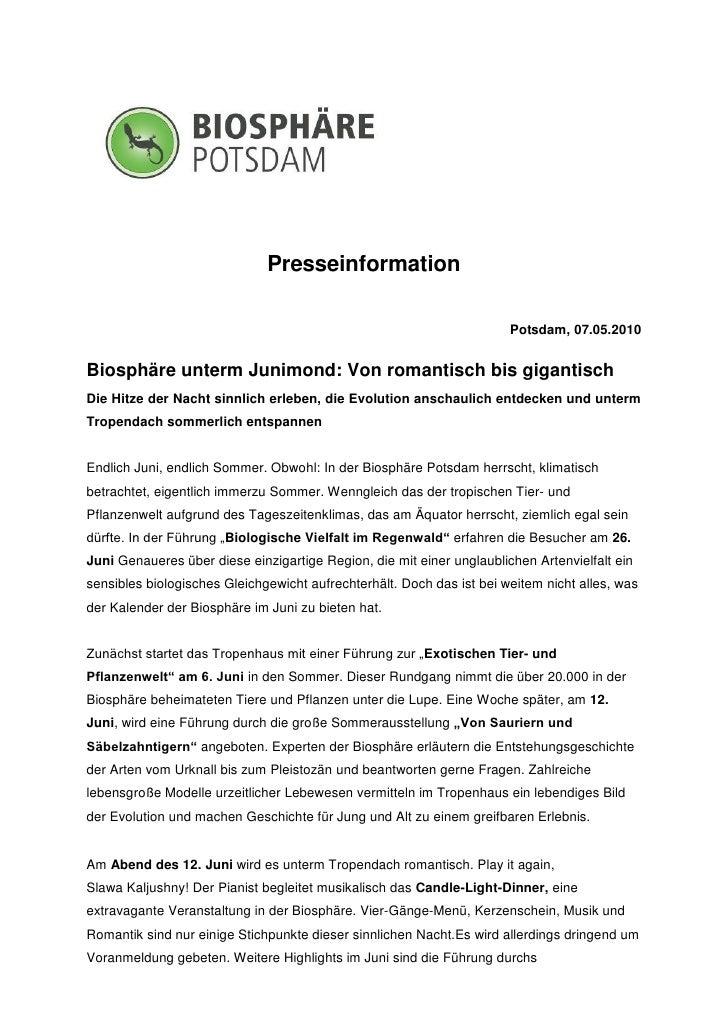 Presseinformation                                                                       Potsdam, 07.05.2010Biosphäre unter...
