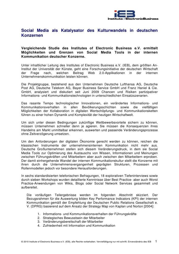 Social Media als Katalysator des Kulturwandels in deutschen Konzernen  Vergleichende Studie des Institutes of Electronic B...