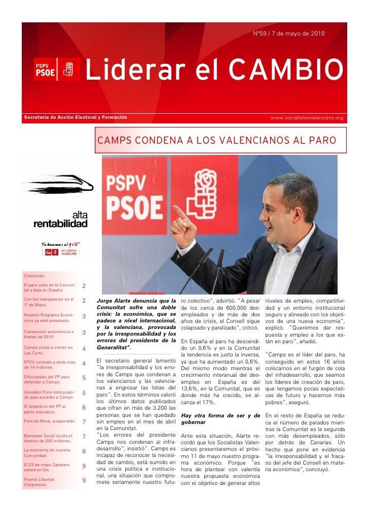 Nº59 / 7 de mayo de 2010                                  Liderar el CAMBIO Secretaría de Acción Electoral y Formación    ...