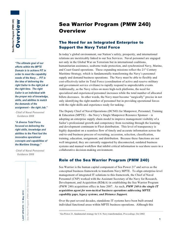 Sea Warrior Program (PMW 240)                       Overview                                                              ...