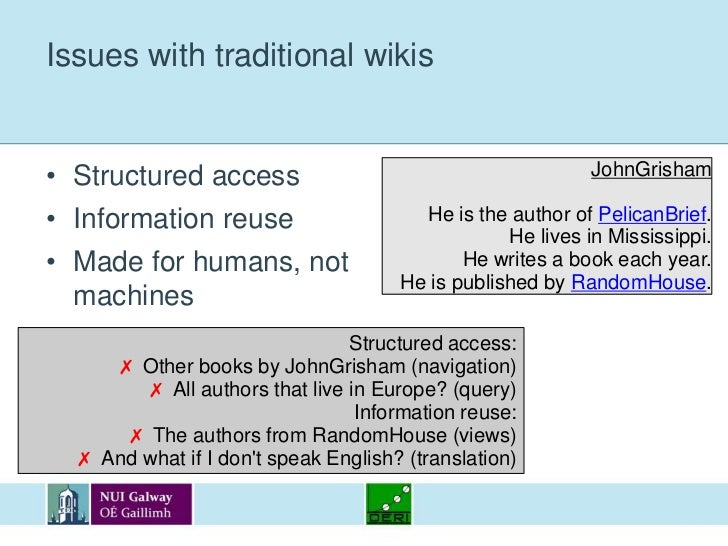 Issues with traditional wikis<br />Structured access<br />Information reuse<br />Made for humans, not machines<br />JohnGr...