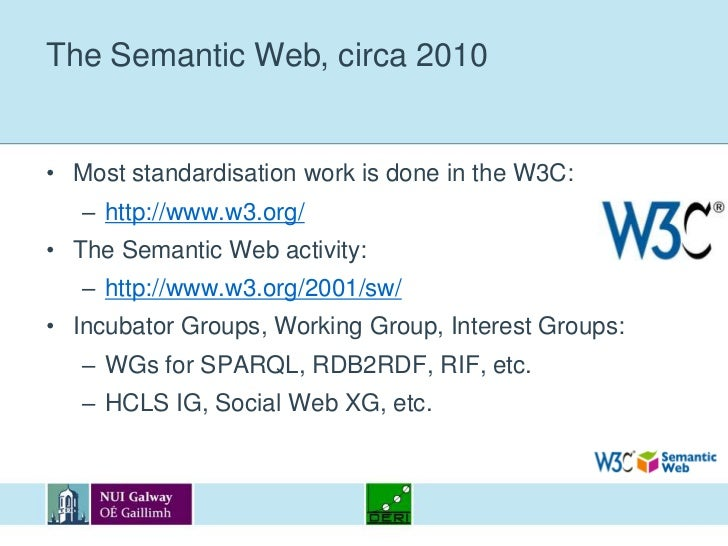 The Semantic Web, circa 2010<br />Most standardisation work is done in the W3C:<br />http://www.w3.org/<br />The Semantic ...