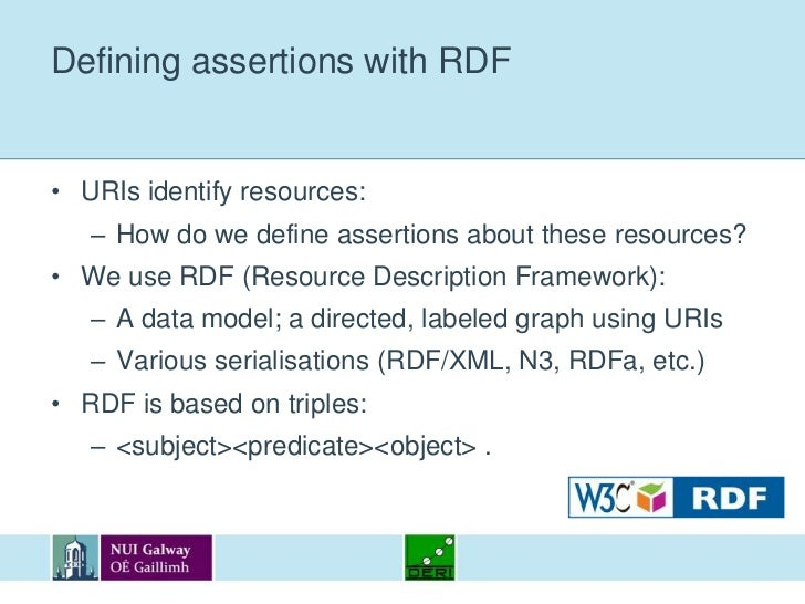 Defining assertions with RDF<br />URIs identify resources:<br />How do we define assertions about these resources?<br />We...