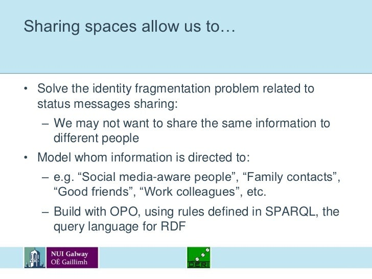 Sharing spaces allow us to…<br />Solve the identity fragmentation problem related to status messages sharing:<br />We may ...
