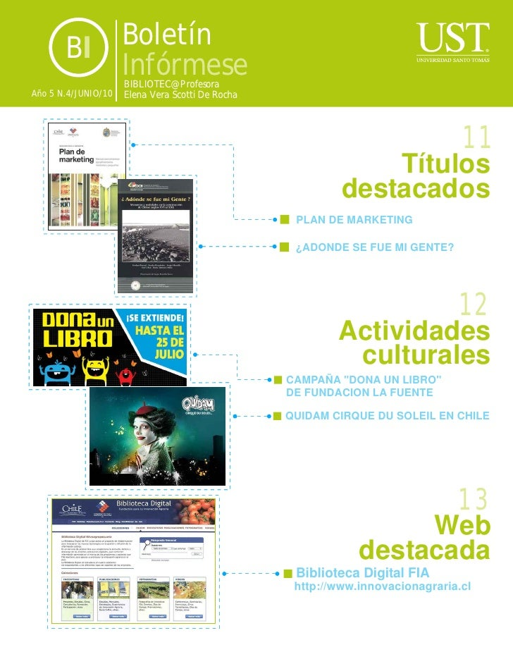 BI            Boletín                      Infórmese                      BIBLIOTEC@ Profesora Año 5 N.4/JUNIO/10   Elena ...