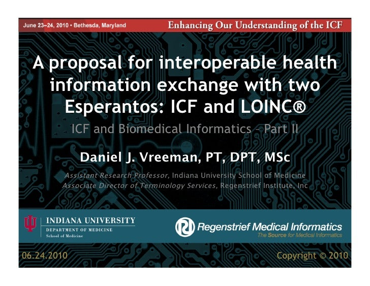 A proposal for interoperable health     information exchange with two       Esperantos: ICF and LOINC®              ICF an...