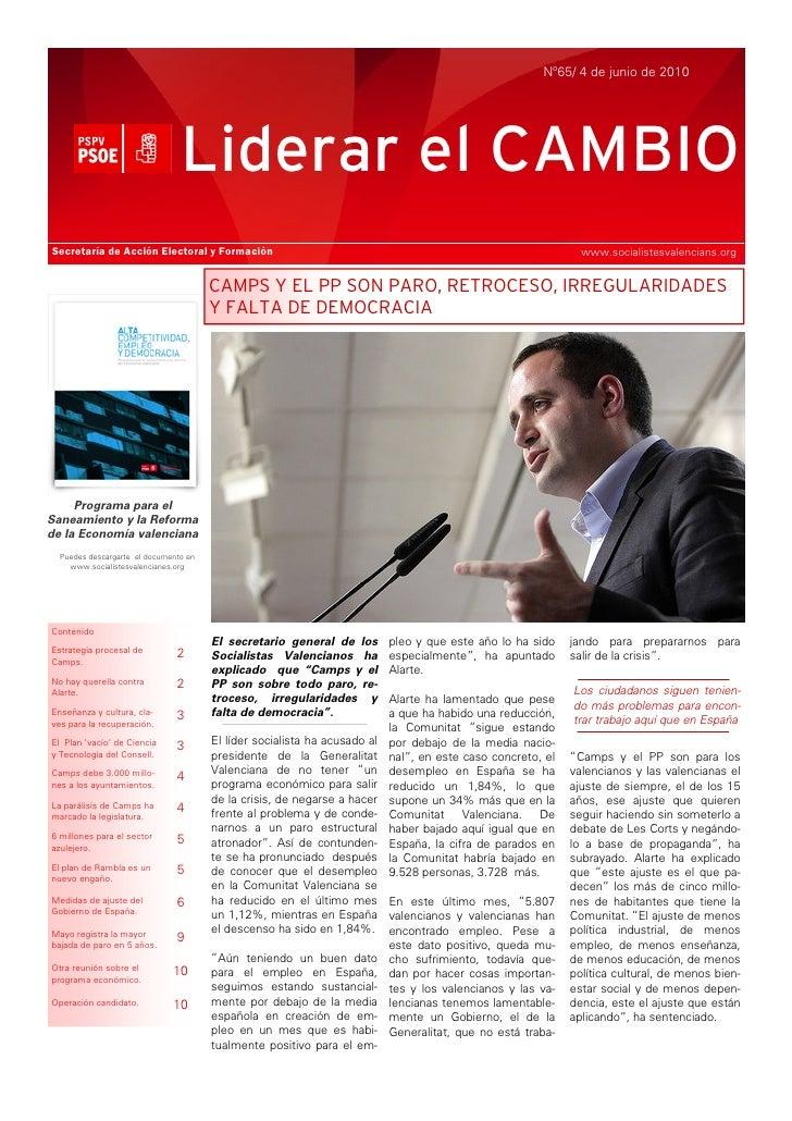 Nº65/ 4 de junio de 2010                                     Liderar el CAMBIO Secretaría de Acción Electoral y Formación ...