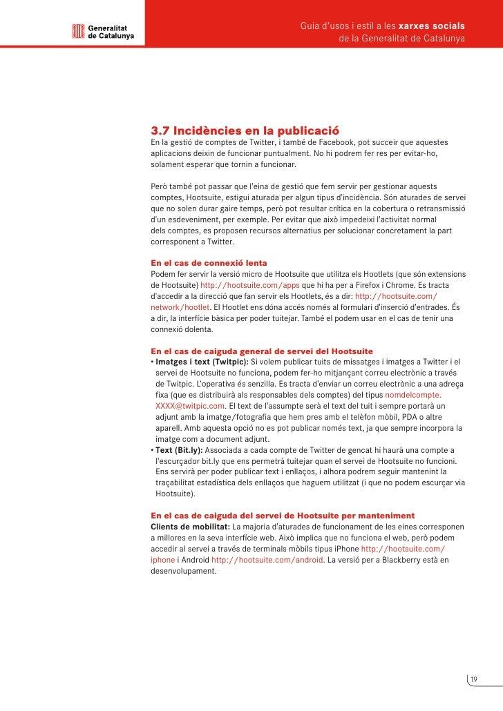 Guia d'usos i estil a les xarxes socials      de la Generalitat de Catalunya             4                Facebook        ...
