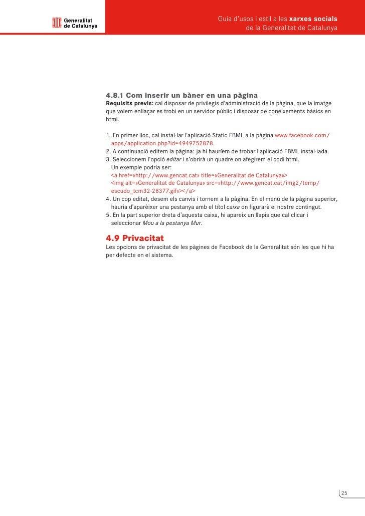 Guia d'usos i estil a les xarxes socials      de la Generalitat de Catalunya             5                Linkedin       É...