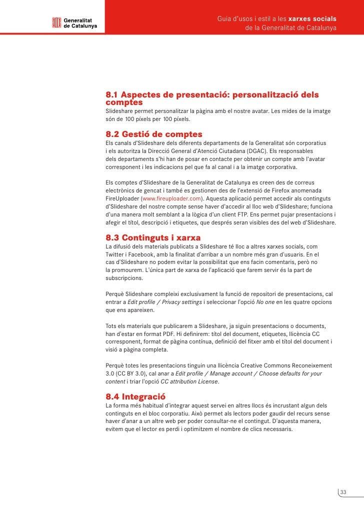 Guia d'usos i estil a les xarxes socials      de la Generalitat de Catalunya             9                Delicious      D...
