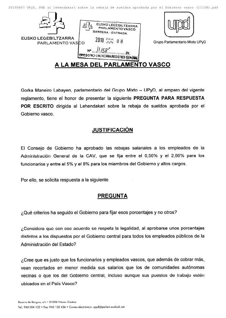 20100607 UPyD. PRE al lehendakari sobre la rebaja de sueldos aprobada por el Gobierno vasco (11158).pdf