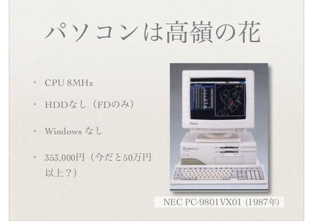 パソコンは高嶺の花 ✦ CPU 8MHz ✦ HDDなし(FDのみ) ✦ Windows なし ✦ 353,000円(今だと50万円 以上?) NEC PC-9801VX01 (1987年)