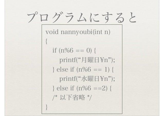 """プログラムにすると void nannyoubi(int n) { if (n%6 == 0) { printf(""""月曜日¥n""""); } else if (n%6 == 1) { printf(""""水曜日¥n""""); } else if (n%6 ..."""