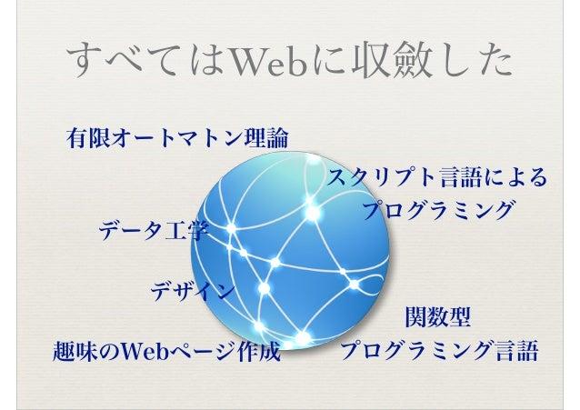 すべてはWebに収斂した 有限オートマトン理論 スクリプト言語による プログラミング 趣味のWebページ作成 データ工学 関数型 プログラミング言語 デザイン