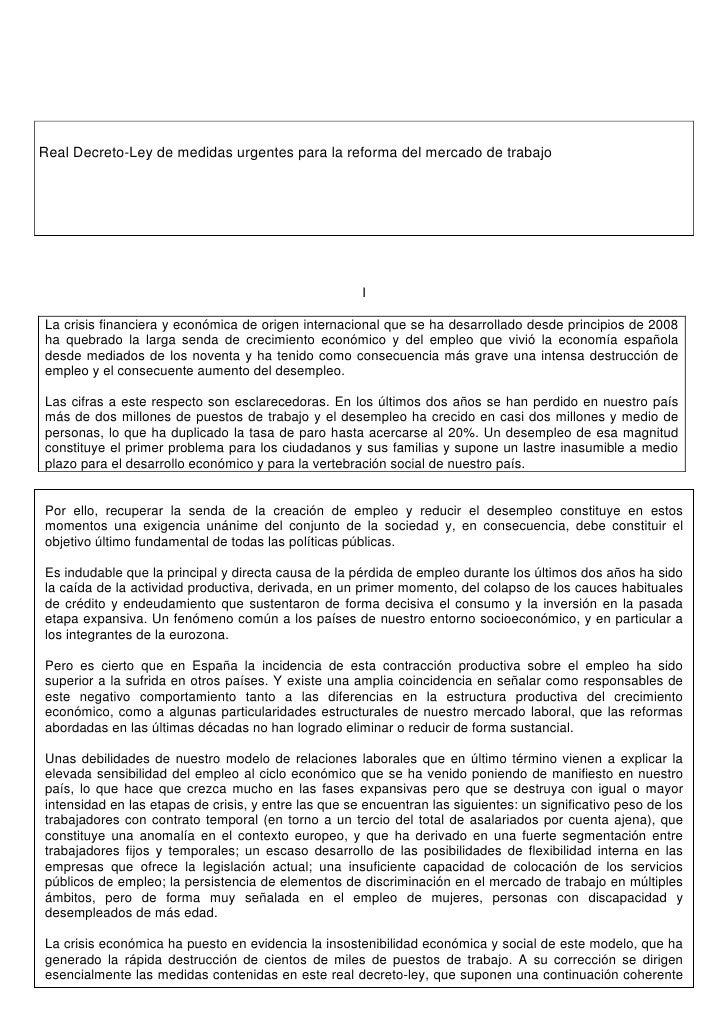 Real Decreto-Ley de medidas urgentes para la reforma del mercado de trabajo                                               ...