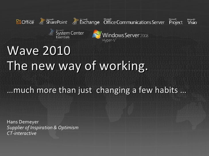 Wave 2010 The new way of working. …much m ore than just  changing a few habits  … Hans Demeyer Supplier of Inspiration & O...
