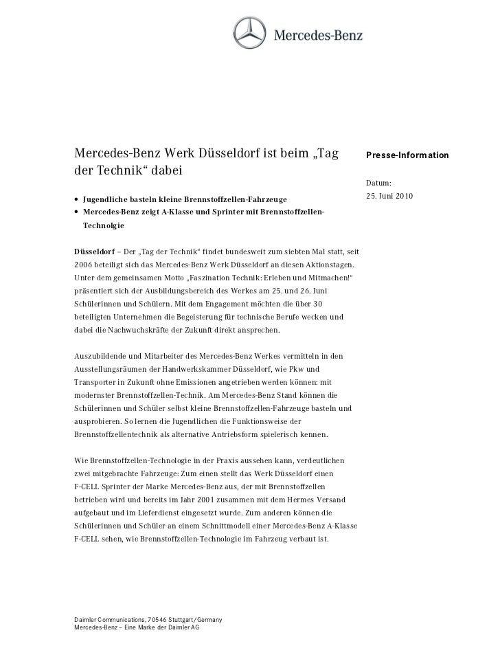"""Mercedes-Benz Werk Düsseldorf ist beim """"Tag                                        Presse-Informationder Technik"""" dabei   ..."""
