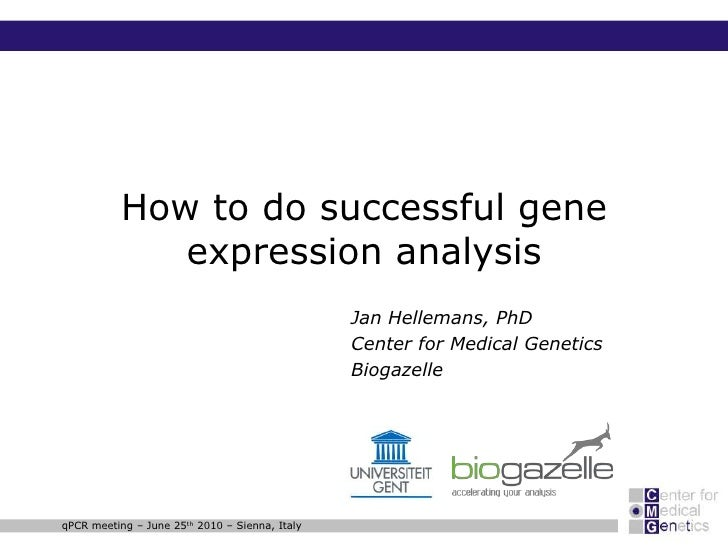 accelerating your analysis     How to do successful gene expression analysis                  Jan Hellemans, PhD