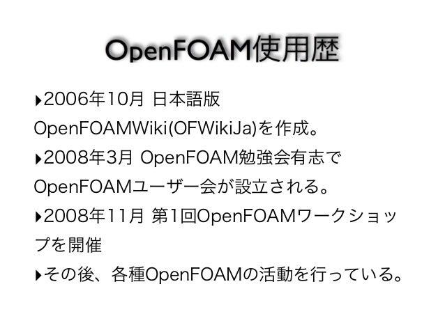 2006年10月 日本語版  OpenFOAMWiki(OFWikiJa)を作成。  2008年3月 OpenFOAM勉強会有志で  OpenFOAMユーザー会が設立される。  2008年11月 第1回OpenFOAMワークショッ  プを開催 ...