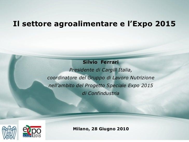 Il settore agroalimentare e l'Expo 2015 Milano, 28 Giugno 2010 Silvio  Ferrari Presidente di Cargill Italia, coordinatore ...