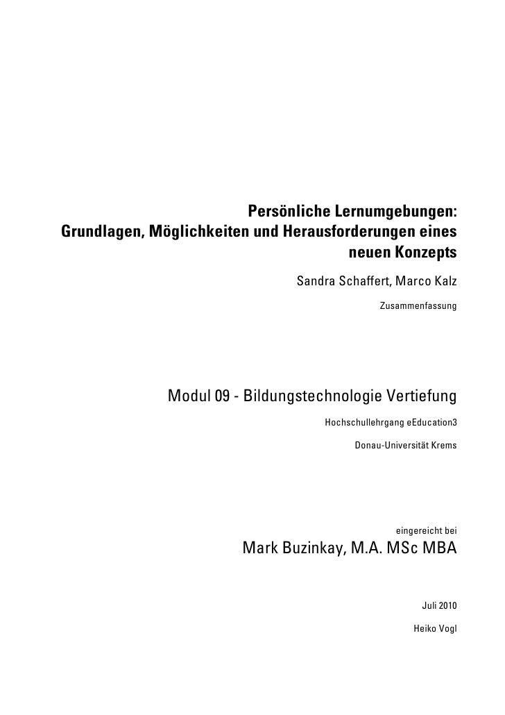Persönliche Lernumgebungen: Grundlagen, Möglichkeiten und Herausforderungen eines                                        n...