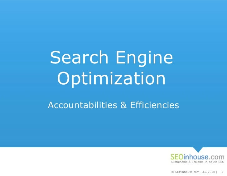 Search Engine Optimization Accountabilities & Efficiencies