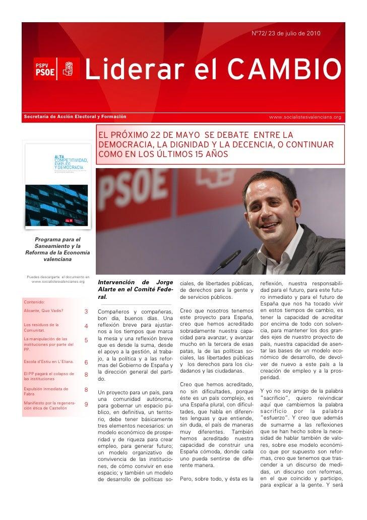 Nº72/ 23 de julio de 2010                                    Liderar el CAMBIO Secretaría de Acción Electoral y Formación ...