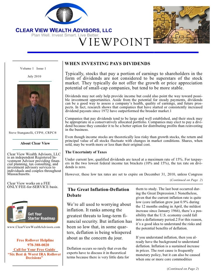V IEWPOINT                                      WHEN INVESTING PAYS DIVIDENDS         Volume 1 Issue 1                    ...