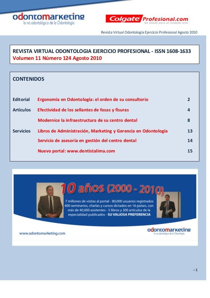 Revista Virtual Odontología Ejercicio Profesional Agosto 2010REVISTA VIRTUAL ODONTOLOGIA EJERCICIO PROFESIONAL - ISSN 1608...