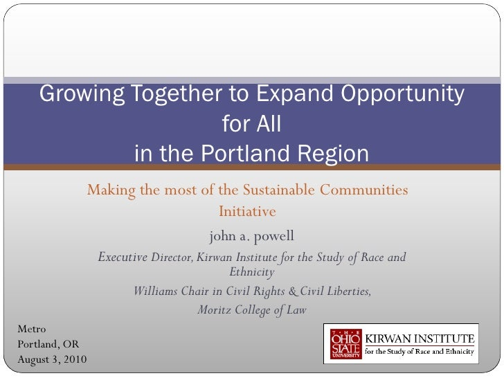 Growing Together to Expand Opportunity                     for All            in the Portland Region                 Makin...
