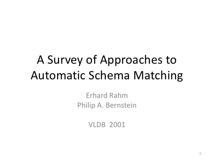 A Survey of Approaches to Automatic Schema Matching<br />Erhard Rahm<br />Philip A. Bernstein<br />VLDB 2001<br />1<br />