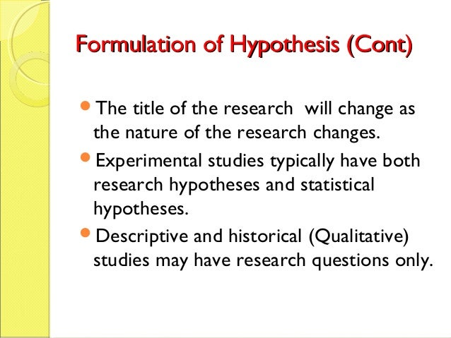formulation of hypothesis in research