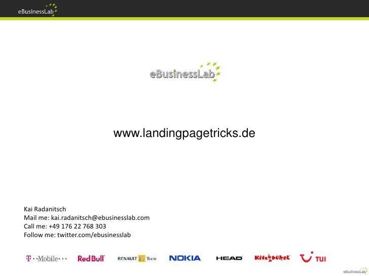 ConversionCamp 2010  Advanced Landingpage Tactics