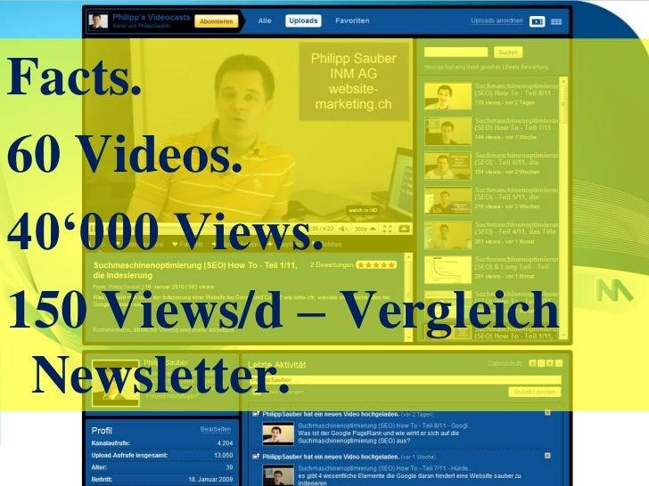 Facts.<br />60 Videos.<br />40'000 Views.<br />150 Views/d – Vergleich Newsletter.<br />