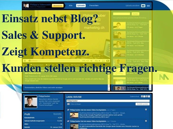 Einsatz nebst Blog?<br />Sales & Support.<br />Zeigt Kompetenz.<br />Kunden stellen richtige Fragen.<br />