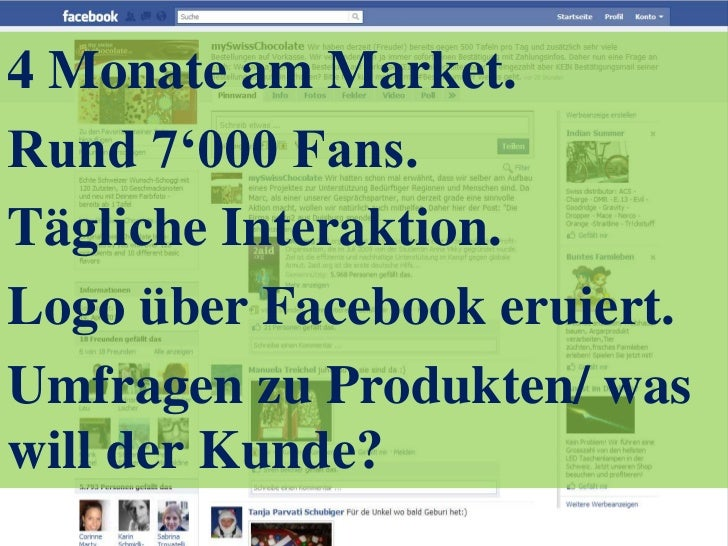4 Monate am Market.<br />Rund 7'000 Fans.<br />Tägliche Interaktion.<br />Logo über Facebook eruiert.<br />Umfragen zu Pro...