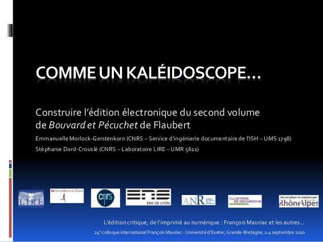 Construire l'édition électronique du second volume de Bouvard et Pécuchet de Flaubert L'édition critique, de l'imprimé au ...