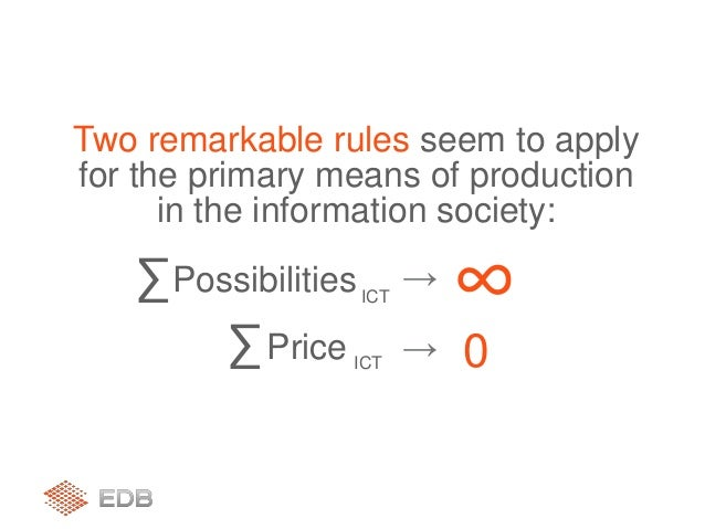 ICT ∑Possibilities ∞→ ICT ∑Price → 0 Two remarkable rules seem to apply for the primary means of production in the informa...