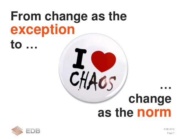 Page 7 EDB 2010 From change as the exception to … … change as the norm
