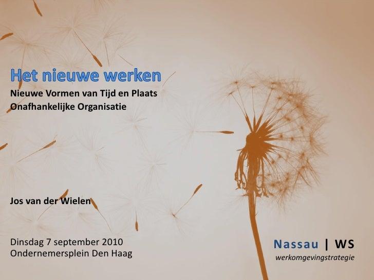 Nieuwe Vormen van Tijd en Plaats Onafhankelijke Organisatie     Jos van der Wielen   Dinsdag 7 september 2010           Na...
