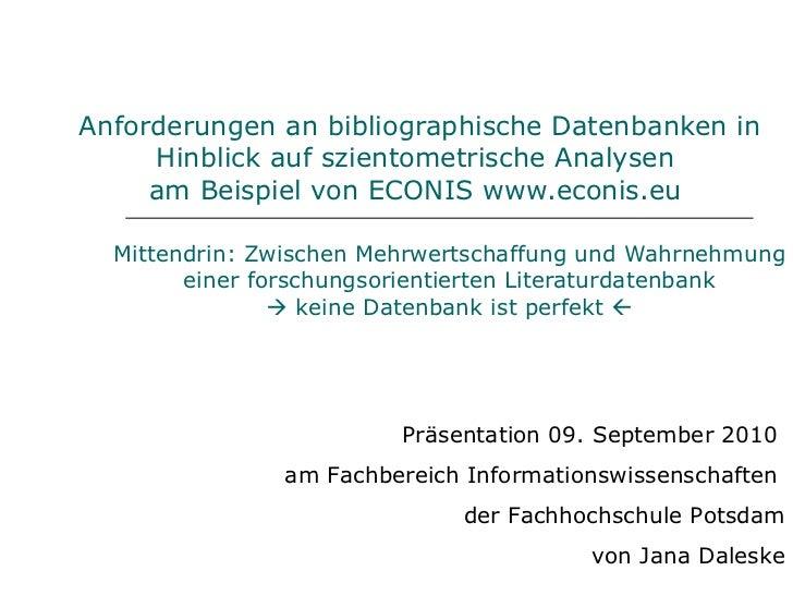 Anforderungen an bibliographische Datenbanken in Hinblick auf szientometrische Analysen  am Beispiel von ECONIS  www.econi...