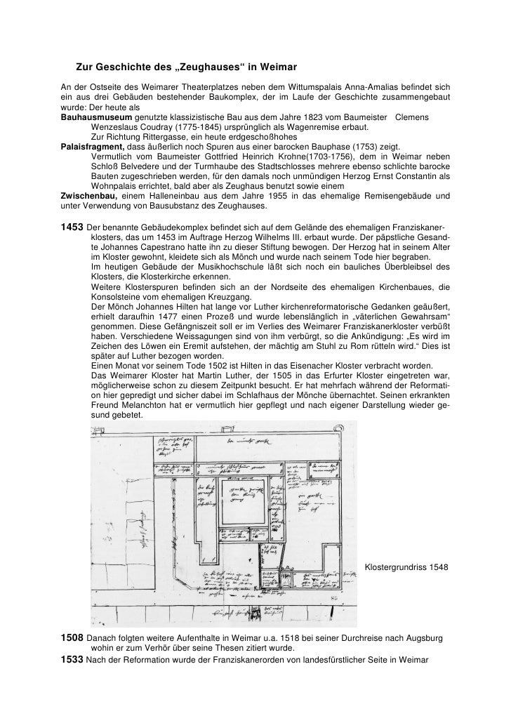 """Zur Geschichte des """"Zeughauses"""" in WeimarAn der Ostseite des Weimarer Theaterplatzes neben dem Wittumspalais Anna-Amalias ..."""