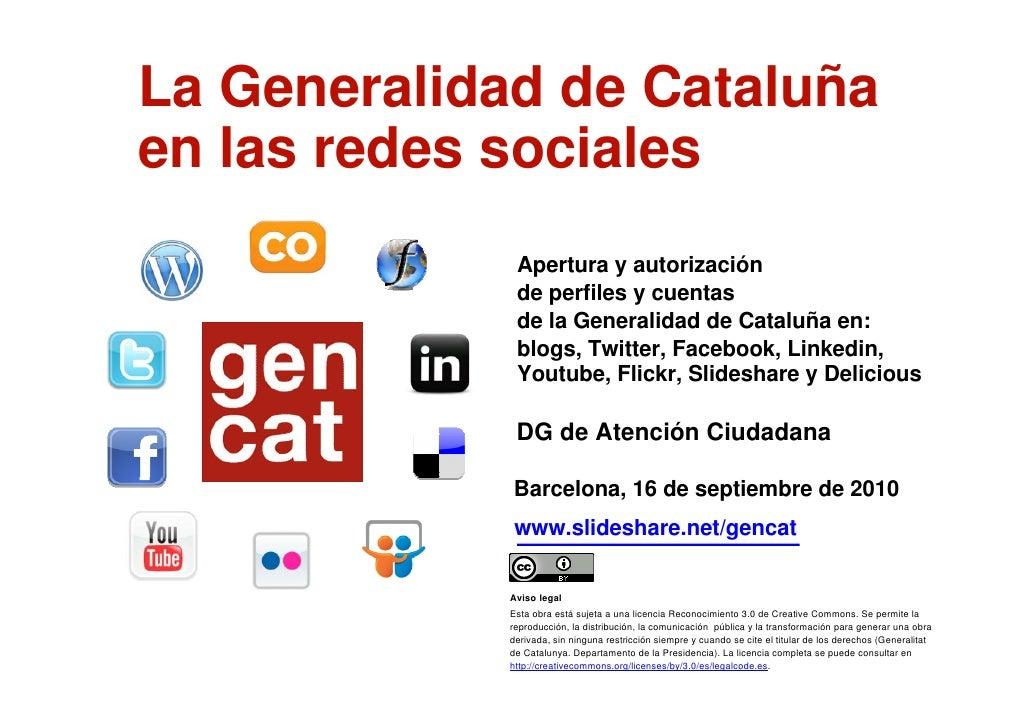 La Generalidad de Cataluña en las redes sociales ESP